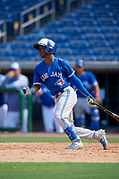 Toronto Blue Jays Samad Taylor (3) at bat during an Instructional League game against the Philadelphia Phillies on September 17, 2019 at Spectrum Field in Clearwater, Florida.  (Mike Janes/Four Seam Images)