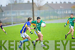 Jeff O'Donoghue of the Sem, Killarney keeps Nathan Murphy of the Green CBS Tralee at bay in the O'Sullivan Cup in Pat Healy Memorial Park, Ballyrickard on Wednesday.