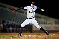 New Orleans Baby Cakes relief pitcher Mike Kickham (12) during a Pacific Coast League game against the Oklahoma City Dodgers on May 6, 2019 at Shrine on Airline in New Orleans, Louisiana.  New Orleans defeated Oklahoma City 4-0.  (Mike Janes/Four Seam Images)
