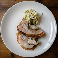 Melbourne, May 20, 2018 - A dish of Roast pork and celeriac at Gertrude Street Enoteca, Fitzroy, Australia. Photo Sydney Low