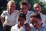 Teenage school children, Cayman Brac, Cayman Islands,