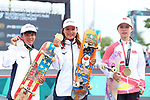 (L-R) Kaya Isa, Sakura Yosozumi (JPN), Zhang Xin (CHN),  <br /> AUGUST 29, 2018 - Skateboarding : <br /> Women's Park  Medal ceremony<br /> at Jakabaring Sport Center Skatepark <br /> during the 2018 Jakarta Palembang Asian Games <br /> in Palembang, Indonesia. <br /> (Photo by Yohei Osada/AFLO SPORT)