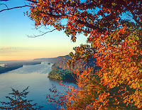 Mississippi River at dawn, Effigy MOunds National MOnumnet, Iowa Fire Point View, Wisconsin on left
