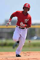 GCL Nationals outfielder Oliver Ortiz (26) runs the bases during a game against the GCL Marlins on June 28, 2014 at the Carl Barger Training Complex in Viera, Florida.  GCL Nationals defeated the GCL Marlins 5-0.  (Mike Janes/Four Seam Images)