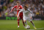 Luka Modric vies with Toni Kroos during the UEFA Champions League semifinal first leg football match Real Madrid CF vs FC Bayern Munchen at the Santiago Bernabeu stadium in Madrid in Madrid on April 23, 2014.   PHOTOCALL3000/ DP