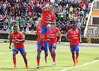 IPIALES-COLOMBIA, 21–09-2019: César Amaya de Deportivo Pasto, celebra el gol anotado a Atlético Nacional, durante partido de la fecha 12 entre Deportivo Pasto y Atlético Nacional por la Liga Águila II 2019  jugado en el estadio Municipal de Ipiales de la Ciudad de Ipiales. / Cesar Amaya of Deportivo Pasto celebrates the scored goal to Atletico Nacional, during a match of the 12th date between Deportivo Pasto and Atletico Nacional for the Aguila Leguaje II 2019 played at the Municipal de Ipiales stadium in Ipiales city. Photo: VizzorImage / Leonardo Castro / Cont.