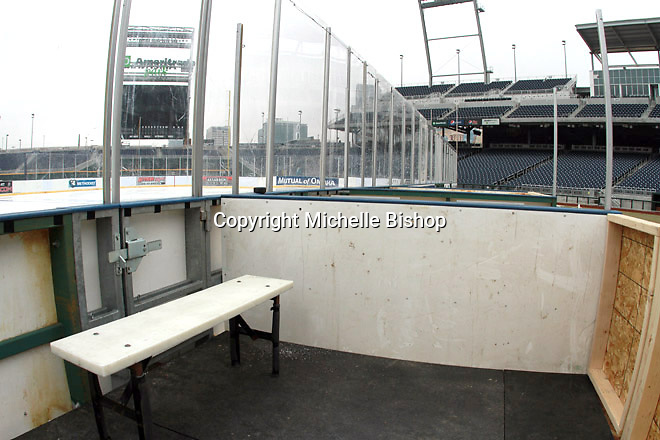 A view of the penalty box at the outdoor ice rink at TD Ameritrade Park in Omaha, Neb., Thursday, Feb. 7, 2013. (Photo by Michelle Bishop)