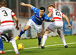 Hamilton Accies v St Johnstone...31.10.15  SPFL  New Douglas Park, Hamilton<br /> Joe Shaughnessy skips round Greg Docherty<br /> Picture by Graeme Hart.<br /> Copyright Perthshire Picture Agency<br /> Tel: 01738 623350  Mobile: 07990 594431