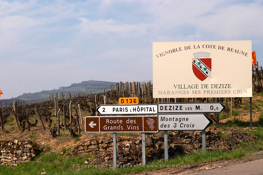 road sign vineyard dezize les maranges santenay cote de beaune burgundy france