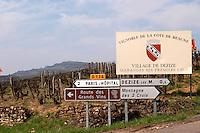 road sign vineyard dezize les maranges santenay cote de beaune burgundy france