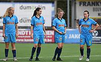 20191005  -  Diksmuide , BELGIUM : FWDM's Celine Leeman , FWDM's Angelique Veracx , FWDM's Inge Vandermarcke and FWDM's Hanne Borteel pictured during a footballgame between the womensoccer teams from Famkes Westhoek Diksmuide Merkem and KV Mechelen Ladies A , on the 5th matchday in the first division , 1e nationale , in Diksmuide - Belgium - saturday 5th october 2019 . PHOTO DAVID CATRY | Sportpix.be
