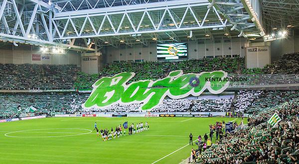 Stockholm 2014-11-02 Fotboll Superettan Hammarby IF - J&ouml;nk&ouml;pings S&ouml;dra IF :  <br /> Vy &ouml;ver Tele2 Arena med ett tifo och halsdukar av Hammarbys supportrar under lineup inf&ouml;r matchen mellan Hammarby IF och J&ouml;nk&ouml;pings S&ouml;dra IF <br /> (Foto: Kenta J&ouml;nsson) Nyckelord:  Superettan Tele2 Arena Hammarby HIF Bajen J&ouml;nk&ouml;ping S&ouml;dra IF J-S&ouml;dra inomhus interi&ouml;r interior supporter fans publik supporters