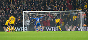 5th February 2019, Molineux Stadium, Wolverhampton, England; FA Cup football, 4th round replay, Wolverhampton Wanderers versus Shrewsbury Town; The ball from Josh Laurent of Shrewsbury Town goes in to the Wolves net to take the lead 1-2 in the 39th minute chased by Willy Boly of Wolverhampton Wanderers