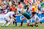 Ryan Oosthuizen of South Africa (C) fights with Will Wilson of England (L) during the HSBC Hong Kong Sevens 2018 match between South Africa and England on April 7, 2018 in Hong Kong, Hong Kong. Photo by Marcio Rodrigo Machado / Power Sport Images