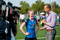 Kansas City, MO - Saturday September 9, 2017: Becky Sauerbrunn, Dalen Cuff during a regular season National Women's Soccer League (NWSL) match between FC Kansas City and the Chicago Red Stars at Children's Mercy Victory Field.
