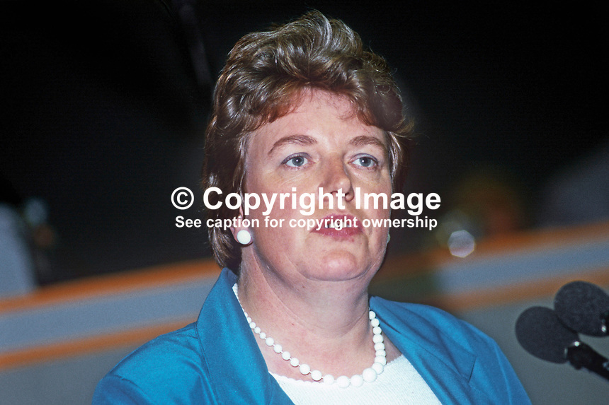 Barbara Switzer, prominent member, TASS, Technical, Administrative and Supervisory Section, trade union, UK, 19860906BS2<br /> <br /> Copyright Image from Victor Patterson, 54 Dorchester Park, <br /> Belfast, UK, BT9 6RJ<br /> <br /> t1: +44 28 9066 1296 (from Rep of Ireland 048 9066 1296)<br /> t2: +44 28 9002 2446 (from Rep of Ireland 048 9002 2446)<br /> m: +44 7802 353836<br /> <br /> e1: victorpatterson@me.com<br /> e2: victorpatterson@gmail.com<br /> <br /> www.victorpatterson.com<br /> <br /> Please see my Terms and Conditions of Use at www.victorpatterson.com. It is IMPORTANT that you familiarise yourself with them.<br /> <br /> Images used on the Internet must be visibly watermarked i.e. &copy; Victor Patterson within the body of the image and copyright metadata must not be deleted. Images used on the Internet have a size restriction of 4kbs and will be chargeable at current NUJ rates unless advised otherwise.<br /> <br /> This image is only available for the use of the download recipient i.e. television station, newspaper, magazine, book publisher, etc, and must not be passed on to any third party. It is also downloaded on condition that each and every usage is notified within 7 days to victorpatterson@me.com<br /> <br /> The right of Victor Patterson to be identified as the author is asserted in accordance with The Copyright Designs And Patents Act (1988).