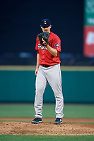 Pawtucket Red Sox starting pitcher Justin Haley (31) looks in for the sign during a game against the Rochester Red Wings on May 19, 2018 at Frontier Field in Rochester, New York.  Rochester defeated Pawtucket 2-1.  (Mike Janes/Four Seam Images)