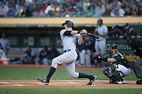OAKLAND, CA - AUGUST 20:  DJ LeMahieu #26 of the New York Yankees bats against the Oakland Athletics during the game at the Oakland Coliseum on Tuesday, August 20, 2019 in Oakland, California. (Photo by Brad Mangin)