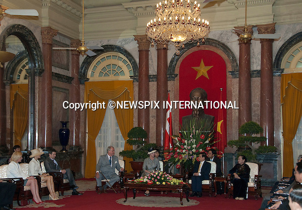 "DANISH ROYALS OFFICAL WELCOME AT PRESIDENTIAL PALACE.The Danish Royal Family on the first official day of their State Visit to Vietnam. Vietnam is the first Royal visit the Danish Royal Family has taken together. Queen Margrethe, The Prince Consort Henrik, Crown Prince Fredrik and Crown Princess Mary attended the Official Welcome Ceremony at the Presidential Palace hosted by President Nguyen Minh TRIET and First Lady Tran Thi Kim Chi, after which they laid wreaths at the National Heroes and Martyrs Monument as well as the Ho Chi Minh Mausoleum, Hanoi, Vietnam_02/11/2009..Mandatory Photo Credit: ©Dias/Newspix International..**ALL FEES PAYABLE TO: ""NEWSPIX INTERNATIONAL""**..PHOTO CREDIT MANDATORY!!: NEWSPIX INTERNATIONAL(Failure to credit will incur a surcharge of 100% of reproduction fees)..IMMEDIATE CONFIRMATION OF USAGE REQUIRED:.Newspix International, 31 Chinnery Hill, Bishop's Stortford, ENGLAND CM23 3PS.Tel:+441279 324672  ; Fax: +441279656877.Mobile:  0777568 1153.e-mail: info@newspixinternational.co.uk"