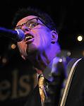 Bassist, Jeff Turmes, backing Mavis Staples, performing at the Helsinki Hudson, in Hudson, NY, on Sunday, February 22, 2015. Photo by Jim Peppler. Copyright Jim Peppler 2015.
