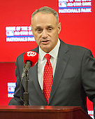 Commissioner of Baseball Robert D. Manfred Jr. announces the award of the 2018 MLB All-Star Game to Washington prior to the New York Mets against the Washington Nationals at Nationals Park in Washington, D.C. on Monday, April 6, 2015.<br /> Credit: Ron Sachs / CNP<br /> (RESTRICTION: NO New York or New Jersey Newspapers or newspapers within a 75 mile radius of New York City)