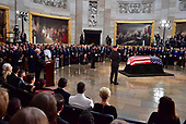 Vice President Mike Pence delivers remarks at the memorial service for Sen. John McCain, R-Ariz., in the Capitol Rotunda where he will lie in state at the U.S. Capitol, in Washington, DC on Friday, August 31, 2018. McCain, an Arizona Republican, presidential candidate, and war hero, died August 25th at the age of 81. He is the 31st person to lie in state at the Capitol in 166 years. Photo Ken Cedeno/UPI