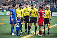 Seattle, WA - Saturday Aug. 27, 2016: Keelin Winters, Rosendo Mendoza, Alicia Messer; Francisco Bermudez, Levi Rippy, Tobin Heath prior to a regular season National Women's Soccer League (NWSL) match between the Seattle Reign FC and the Portland Thorns FC at Memorial Stadium.