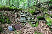 Remnants of an abandoned homestead along Tunnel Brook in Benton, New Hampshire. This area was once known as Coventry, and based on an 1860 historical map of Grafton County this is believed to have been the I. Whitcher homestead.