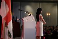 Conference de Valerie Plante mairesse de Montreal et presidente de la Communaute metropolitaine de Montreal devant la Chambre de commerce du Montreal Metropolitain, le Jeudi 19 avril 2018 ,au Centre Sheraton.<br /> PHOTO :  Agence Quebec Presse