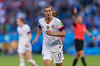 LE HAVRE,  - JUNE 20: Tobin Heath #17 goes to the corner during a game between Sweden and USWNT at Stade Oceane on June 20, 2019 in Le Havre, France.