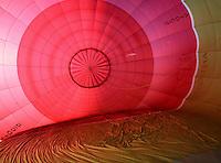Inside the balloon's nylon envelope during inflation, British School of ballooning, Ebernoe, West Sussex.