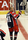 """January 9th, 2009:   Jon """"Nasty"""" Mirasty (41) of the Syracuse Crunch during pre-game warm-up before a game vs. the Rochester Amerks at Blue Cross Arena in Rochester, NY.  Rochester defeated Syracuse 3-1 for their third straight win.  Photo Copyright Mike Janes Photography 2009"""