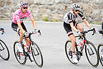 The peloton including race leader Maglia Rosa Tom Dumoulin (NED) Team Sunweb in action during Stage 17 of the 100th edition of the Giro d'Italia 2017, running 219km from Tirano to Canazei, Italy. 24th May 2017.<br /> Picture: LaPresse/Fabio Ferrari | Cyclefile<br /> <br /> <br /> All photos usage must carry mandatory copyright credit (&copy; Cyclefile | LaPresse/Fabio Ferrari)