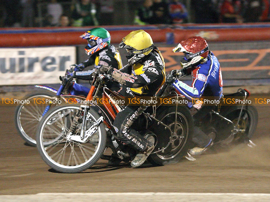 Heat 11 - Chris Harris (green) ahead of Adam Shields (red) and Morten Risager  - Lakeside Hammers vs Eastbourne Eagles - Elite League Knockout Cup Quarter Final 1st Leg at Arena Essex -  14/09/07  - MANDATORY CREDIT: Gavin Ellis/TGSPHOTO - SELF-BILLING APPLIES WHERE APPROPRIATE. NO UNPAID USE. TEL: 0845 094 6026..