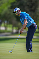 Chris Stroud (USA) watches his putt on 8 during Round 1 of the Valero Texas Open, AT&amp;T Oaks Course, TPC San Antonio, San Antonio, Texas, USA. 4/19/2018.<br /> Picture: Golffile | Ken Murray<br /> <br /> <br /> All photo usage must carry mandatory copyright credit (&copy; Golffile | Ken Murray)