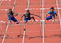 Omar McCleod (Jamaica) wins the Men's 110m hurdles from Daniel Roberts (United States) and Freddie Crittenden (United States) during the IAAF Diamond League Athletics Müller Grand Prix Birmingham at Alexander Stadium, Walsall Road, Birmingham on 18 August 2019. Photo by Alan  Stanford.