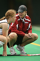 STANFORD, CA - AUGUST 19:  Mandy Hart of the Stanford Cardinal talks with Katie Mitchell during Stanford's 4-1 exhibition win over the University of the Pacific on August 19, 2008 at the Varsity Field Turf in Stanford, California.