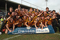 4 March 2013; RBAI celebrate winning the schools cup semi-final clash between RBAI and Ballyclare High School at Ravenhill Belfast. Photo Credit : John Dickson / DICKSONDIGITAL