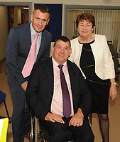 Liam Saunders IWA Area Manager, Michael Hickey Chairman and Breda Dwyer Vice-Chair IWA,   at the opening of the Irish Wheelchair Association new Community Centre at The Reeks Gateway, Killarney on Friday. Picture: macmonagle.com