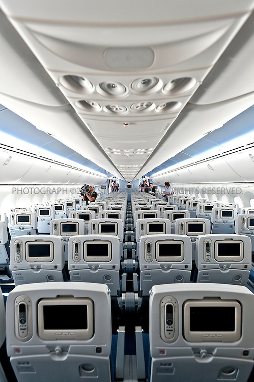 8/6/2011--Everett, WA, USA..Interior of economy class of the first Boeing 787 Dreamliner delivered to a customer, ANA, at Boeing facilities in Everett, WASH...Boeing presented the first 787 Dreamliner to launch customer ANA (All Nippon Airways) at Paine Field in Everett, WASH., north of Seattle. The new planes's first commercial flight will be a special charter from Tokyo to Hong Kong...©2011 Stuart Isett. All rights reserved.