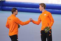 OLYMPICS: SOCHI: Adler Arena, 18-02-2014, Men's 10.000m, podium, Sven Kramer (NED), Jorrit Bergsma (NED), ©photo Martin de Jong