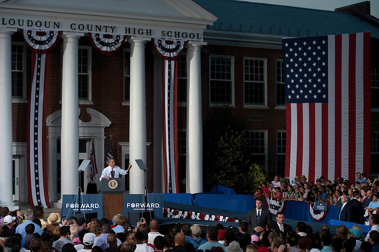 UNITED STATES - AUG 2: President Barack Obama was greeted by hundreds of Leesburg citizens at Loudoun County High School in Leesburg Virginia on August 2, 2012 as he campaigned and delivered a speech on the middle class and the economy. (Photo By Douglas Graham / CQ Roll Call)