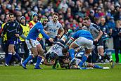 2nd February 2019, Murrayfield Stadium, Edinburgh, Scotland; Guinness Six Nations Rugby Championship, Scotland versus Italy; Josh Strauss of Scotland is tackled