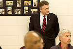 April 6, 2014. Durham, North Carolina.<br />   Mark Harris, seen here waiting for his turn to speak, is one of eight Republican candidates running for Democrat Kay Hagan's Senate seat.<br /> As the the primary scheduled for May 6th grows near, several of the the eight Republican candidates running for the US Senate seat of incumbent Democrat Kay Hagan have increased their public visibility, appearing at events such as the Durham County Lincoln Douglas Lunch, where each candidate was given a few minutes to address the gathered Republican friendly crowd.