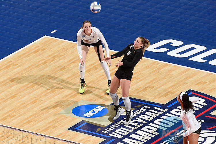 COLUMBUS, OH - DECEMBER 17:  Cat McCoy (8) of the University of Texas digs the ball against Stanford University during the Division I Women's Volleyball Championship held at Nationwide Arena on December 17, 2016 in Columbus, Ohio.  Stanford defeated Texas 3-1 to win the national title. (Photo by Jamie Schwaberow/NCAA Photos via Getty Images)