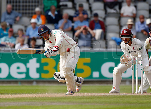 01.09.2016. Old Trafford, Manchester, England. Specsavers County Championship. Lancashire versus Somerset.  Lancashire batsman Rob Jones plays a ball to the onside. At tea, Lancashire had reached 57-0 in response to Somerset's first innings score of 553-8.
