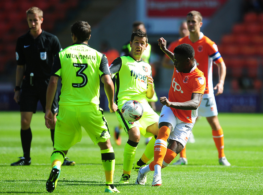 Blackpool's Bright Osayi-Samuel vies for possession with Exeter City's Lloyd James<br /> <br /> Photographer Kevin Barnes/CameraSport<br /> <br /> Football - The EFL Sky Bet League Two - Blackpool v Exeter City - Saturday 6th August 2016 - Bloomfield Road - Blackpool<br /> <br /> World Copyright &copy; 2016 CameraSport. All rights reserved. 43 Linden Ave. Countesthorpe. Leicester. England. LE8 5PG - Tel: +44 (0) 116 277 4147 - admin@camerasport.com - www.camerasport.com