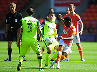 Blackpool's Bright Osayi-Samuel vies for possession with Exeter City's Lloyd James<br /> <br /> Photographer Kevin Barnes/CameraSport<br /> <br /> Football - The EFL Sky Bet League Two - Blackpool v Exeter City - Saturday 6th August 2016 - Bloomfield Road - Blackpool<br /> <br /> World Copyright © 2016 CameraSport. All rights reserved. 43 Linden Ave. Countesthorpe. Leicester. England. LE8 5PG - Tel: +44 (0) 116 277 4147 - admin@camerasport.com - www.camerasport.com