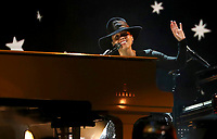 Host Alicia Keys performs a medley at the 61st annual Grammy Awards on Sunday, Feb. 10, 2019, in Los Angeles. (Photo by Matt Sayles/Invision/AP)