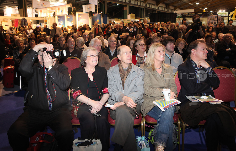 ***NO FEE PIC***.28/01/2011.Crowds listen to Ryanair CEO Michael O' Leary at the Travel Clinic during the Holiday World Show in the RDS, Dublin..Photo: Gareth Chaney Collins